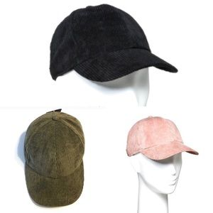 Set of Three Baseball Hat Corduroy. New With Tags
